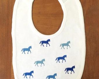 Horse Bib- Baby Bib- Embroidered Bib- New Baby Gift- Baby Shower Gift- Drool Bib- Girl Bib- Boy Bib- Personalized Bib