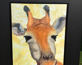 Giraffe Hand painted, hand drawn, hand marbling,