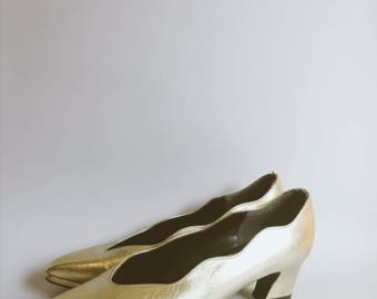 Classic 80's gold court shoe