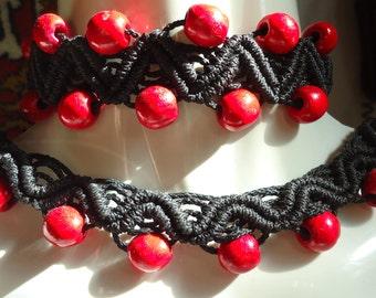 "Custom Order ~ ""Wildish"" Set of Hand-Tatted Bracelet and Carcanet Macramé-Style – Romantic, Bridal, Vintage, Retro, Wedding"