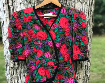vintage floral puff sleeve double breasted jacket or top