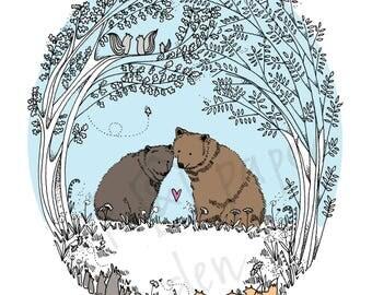 Bear Card - Valentines Card - Woodland Card - Love Card - Anniversary Card