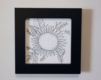 Small ink drawing, flowers, black frame