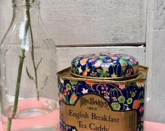 Mrs Bridges Blue Floral Metal Tea Caddy