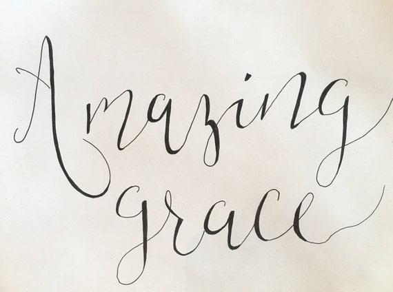 Amazing grace hand drawn calligraphy art