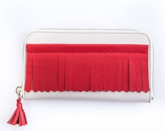 White and red fringe leather wallet