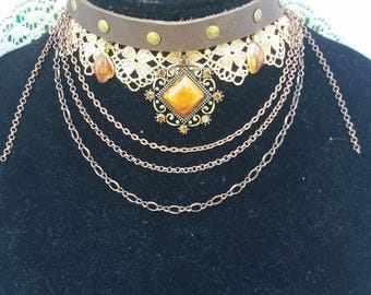 Steampunk Choker with Rivets, Lace and Leather