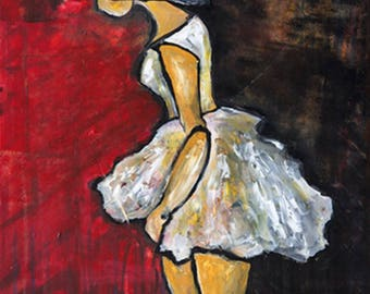 Woman In a White Dress, Print on Canvas, Art Collectibles, Art Gift, Colorful Art, Wall Decor, Wall Art, Digital Prints, Art Print
