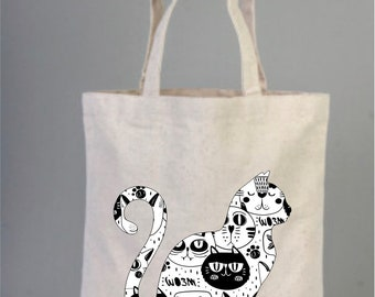 at, Cat Bag, Cat Lover Gifts, Cats Lover Gifts, Black and White, Daily Cotton Bag, Canvas Bag, Natural Bag, Tote Bag, Shopping Bag