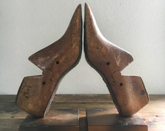 Vintage Repurposed Shoe Form Bookends