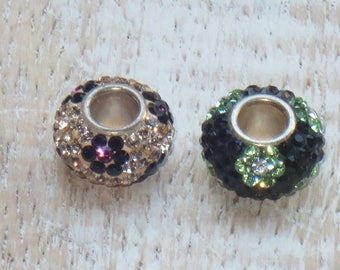 Swarovski Crystal Encrusted Flower Sterling Silver Barrel Beads Large Hole