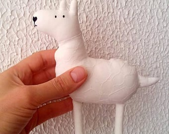 Llama soft sculpture Stuffie Cute animal toys Eco baby toy Llama gift Llama stuffed animal Modern eco toy White llama Farm animal cotton
