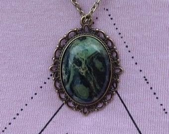 Kambaba Jasper Pendant and Bronze Necklace