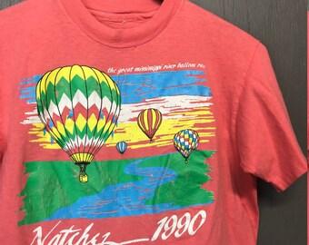 S/M vintage 1990 Natchez Mississippi great hot air balloon race t shirt * small medium