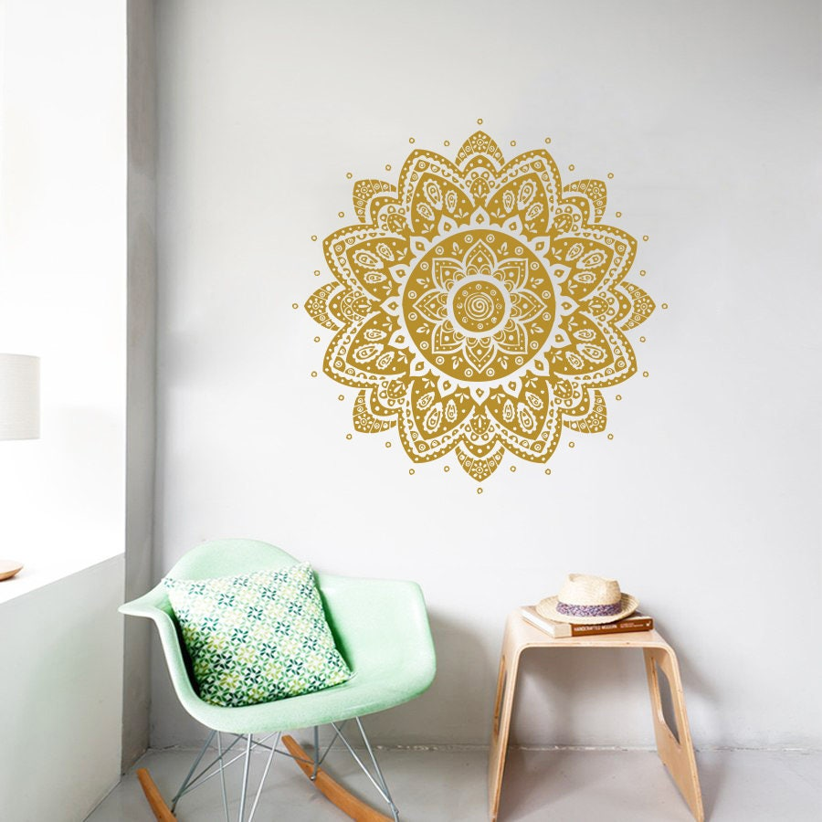 Mandala Wall Decal Vinyl Sticker Lotus Flower Boho Bohemian Decor ...