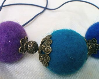 Purple rain -  felted necklace in Blue and Purple