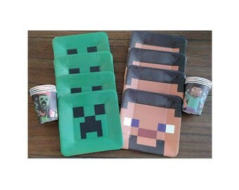 minecraft birthday party plates cups tablecover balloons