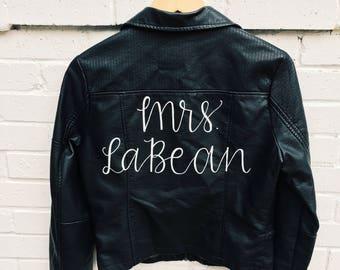 Custom Mrs. Jacket | Bride Leather Jacket | Just Married Jacket | Custom Leather or Denim | Denim Jacket Bride | Edgy bride | Badass Bride