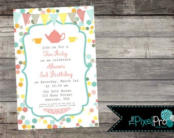 Tea Party Birthday Invitation with pink yellow and teal, tea party birthday party invite, girl birthday party, girl bday party announcements