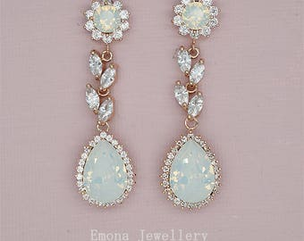 Chandelier Earrings Wedding Earrings Opal Bridal Earrings Rose gold Wedding Jewelry Swarovski Rhinestone Earrings White Opal Earrings