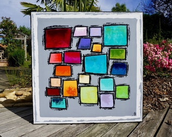 Painting abstract geometric 80x80cm large format