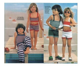 Two-Piece Beach Play Outfits for Kids - Knitting Pattern - Tops, Shorts, & Pants Set
