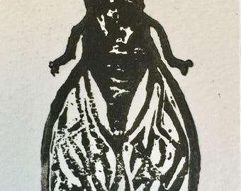 Fly Linocut Print