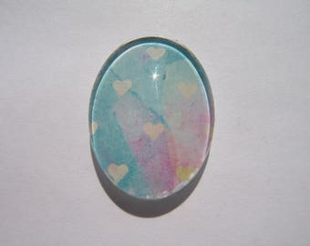 Cabochon 18 X 13 mm oval with heart image