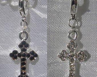 1 charm choice black translucent rhinestones or rhinestone cross charm on lobster clip metal silver * V406 * V435