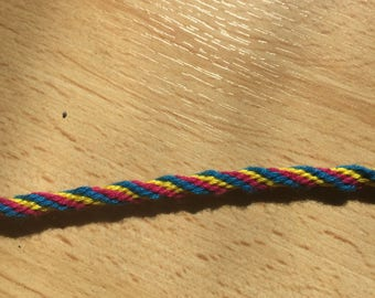 Round yellow, pink and blue Friendship Bracelet