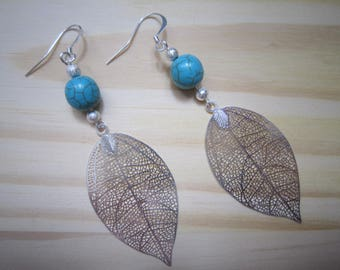 Earrings turquoise bead and silver leaf