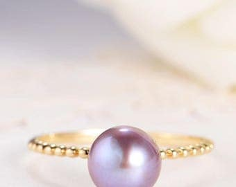 Pearl Engagement Ring Purple Pearl Wedding Bridal Gold Antique Solitaire Birthstone Anniversary Gift for Her Promise Beaded Eternity Women