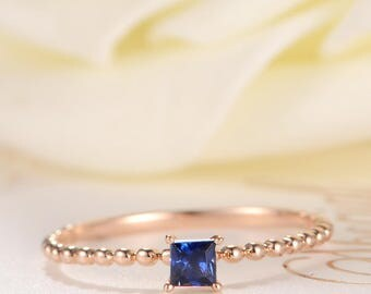 Princess Cut Sapphire Ring Rose Gold Engagement Ring Solitaire Birthstone Simple Antique Retro Petite Beaded Stacking Mini Women Her Gift