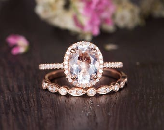 Rose Gold Engagement Ring Set Birthstone Oval Cut White Topaz Ring Bridal Half Eternity Diamond Antique Anniversary Women Wedding Band 2pcs