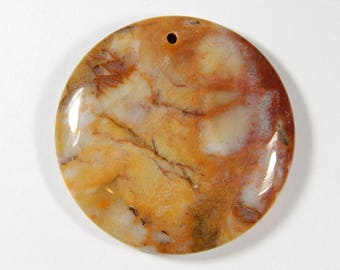 1 Piece - 45x7mm Gobi Agate Gemstone Pendant Bead - Round - Agate - Gemstone Pendants - Jewelry Supplies