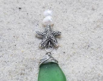 Lake Erie Starfish/ Green glass and pearls