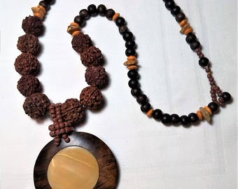 Long necklace made of wood and the Nepal Rudraksha. Wood and mother of Pearl pendant. Women's day gift, handmade, unique creation