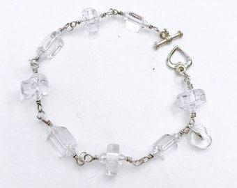 Crystal Kiss Bracelet ~David Christensen furnace cane glass beads