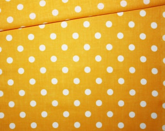 100% cotton fabric printed 50 x 160 cm pattern dots on orange background