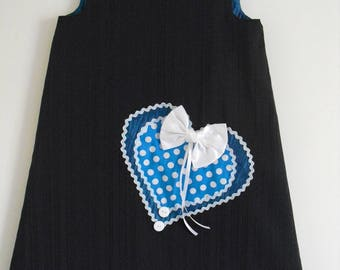 "Pretty winter dress ""big heart"" T 6/7 years"