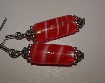 streaked red glass bead earrings