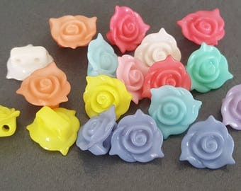 20 buttons 13 x 8 mm, fancy buttons acrylic flowers, buds, colored buttons