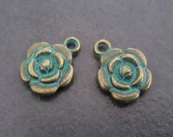 6 charms blue patina antique bronze flower 12 mm