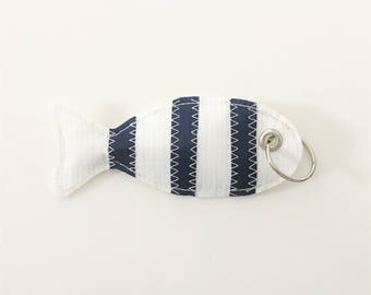 Navy Blue and white fish key chain made with recycled boat sail
