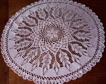 Doily lace, handmade crochet.44 cm, pastel pink