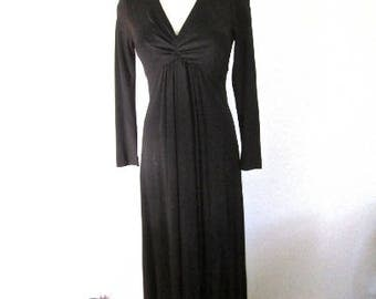 S 70s Gown Black Maxi Dress Long Evening Formal Sleeves Empire Waist Poly Knit by Shawn Jrs Small