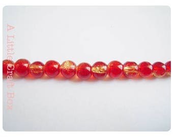 60 6mm - red and yellow cracked glass beads