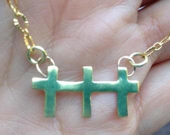 Brass Three Crosses Necklace