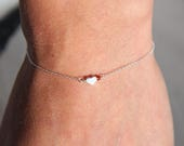 Heart bracelet in Sterling Silver 925 & Pearl Garnet, minimalist jewelry, gift idea Valentine's day by Myo