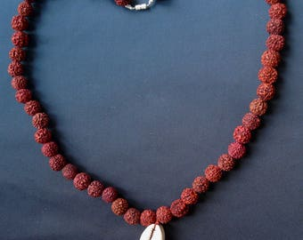 Necklace 55 cowrie and rudraksha seeds